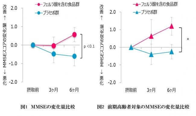 フェルラ酸を含む食品と含まない食品の認知機能の低下指標の比較